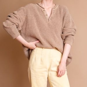 Vintage 80s beige brown Henley chunky sweater